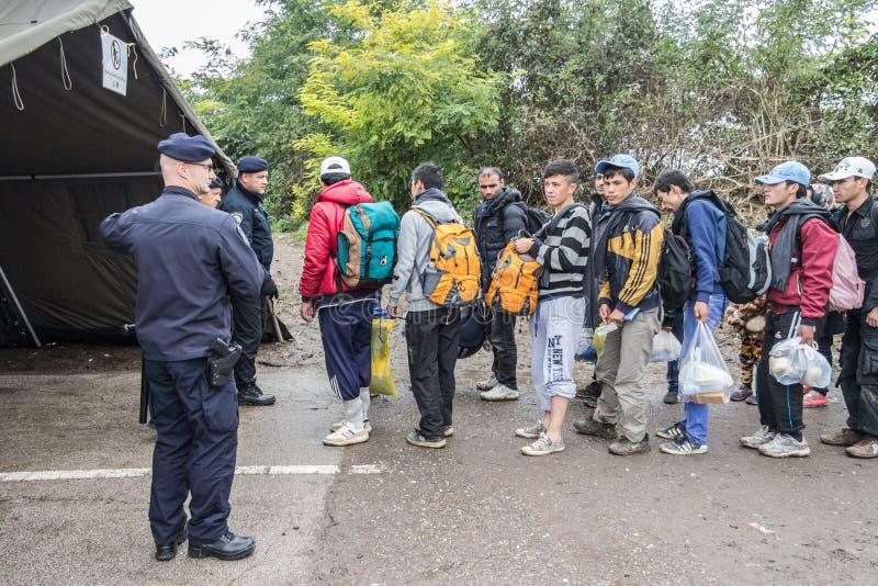 Policía croata de los nómadas de observación de la policía fronteriza que cruzan la frontera de Serbia Croacia en Berkasovo Bapsk imagenes de archivo