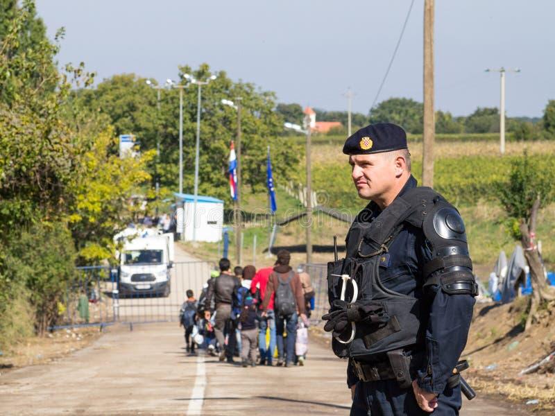 Policía croata que mira los micrants que cruzan la frontera de Serbia Croacia en Berkasovo Bapska, en la ruta de Balcanes imágenes de archivo libres de regalías