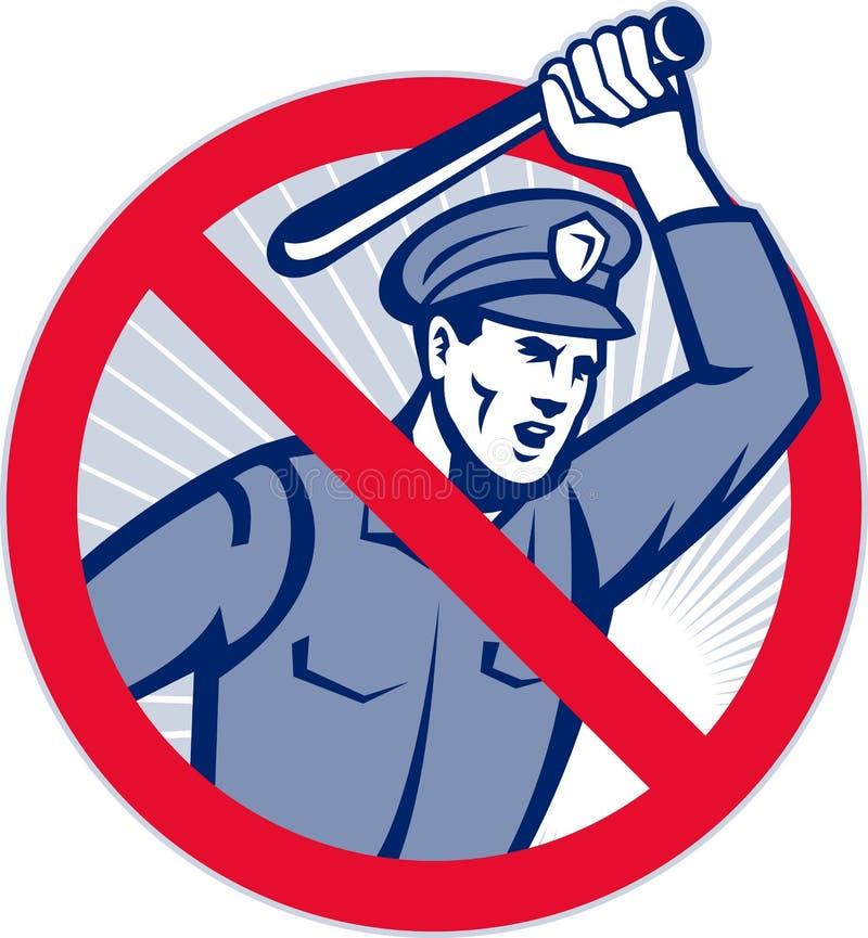 Policía de la brutalidad de policía con el bastón ilustración del vector