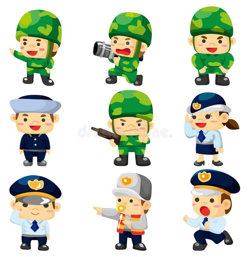 Policía de la historieta e icono del soldado ilustración del vector