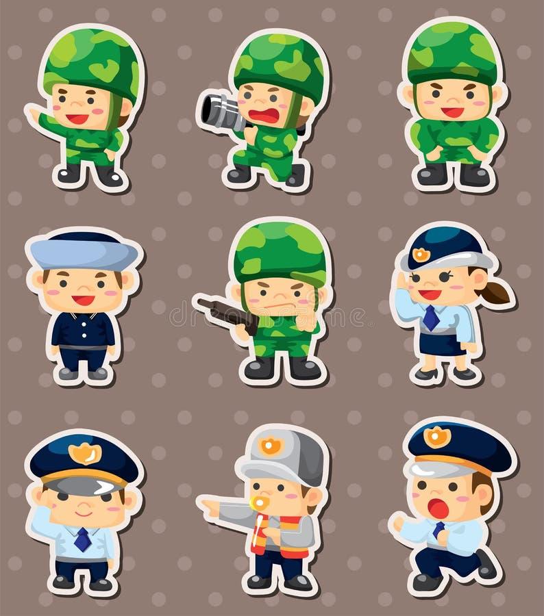 Policía de la historieta y etiquetas engomadas del soldado stock de ilustración