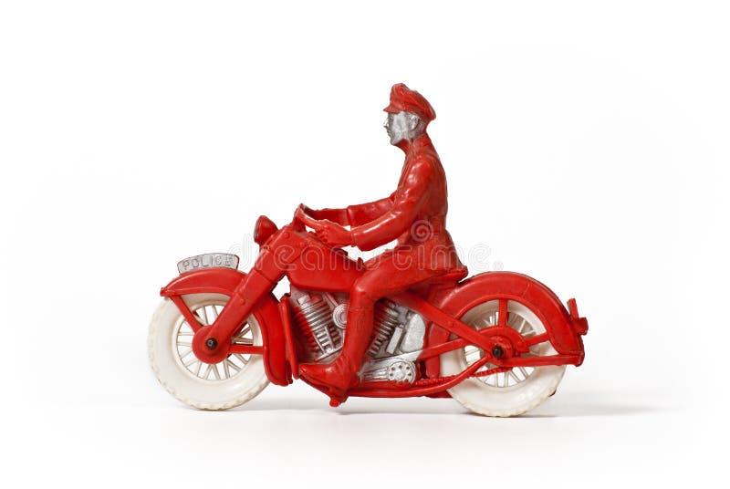 Policía de motocicleta del juguete de la vendimia foto de archivo