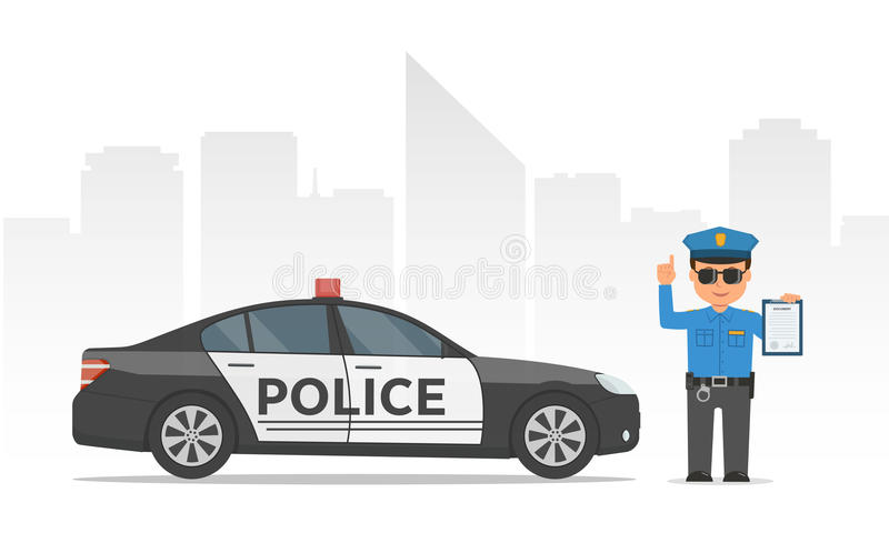 Policía de tráfico que sostiene el tablero Policía y coche policía de la historieta en fondo urbano de los rascacielos ilustración del vector