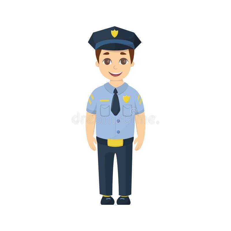 Policía del niño de la historieta ilustración del vector