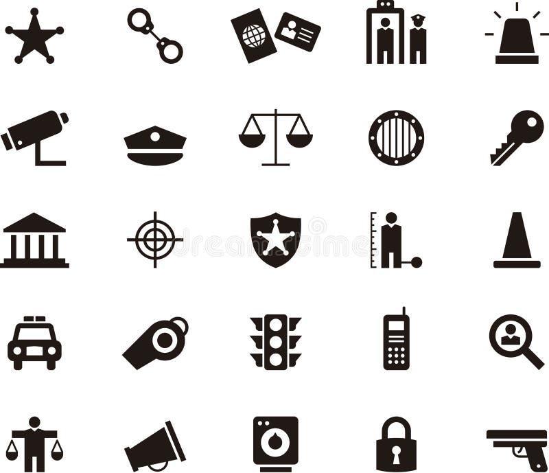 Policía e iconos del Glyph de la aplicación de ley ilustración del vector