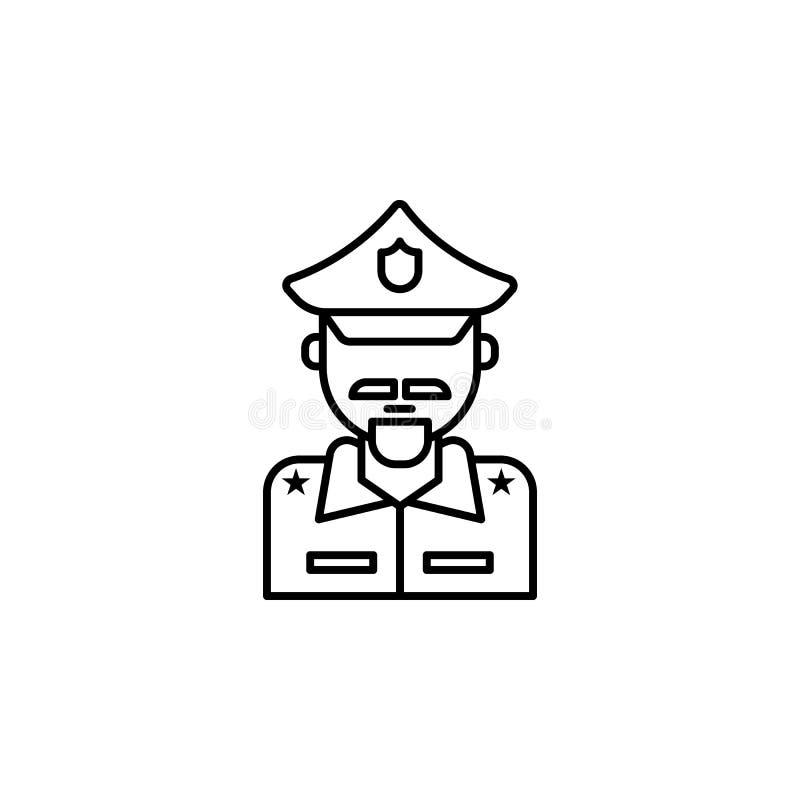 Policía, icono del emblema Elemento del icono de la ley y de la justicia Línea fina icono para el diseño y el desarrollo, desarro ilustración del vector