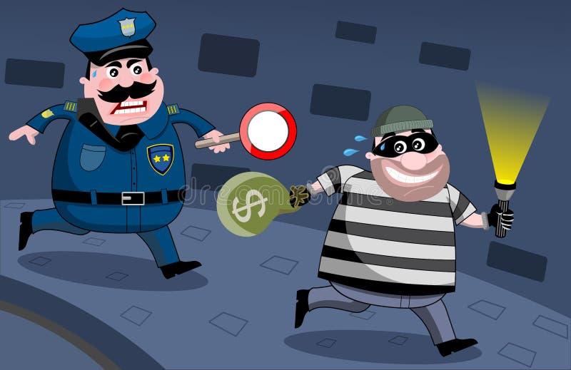 Policía que persigue al atracador de bancos en la noche ilustración del vector