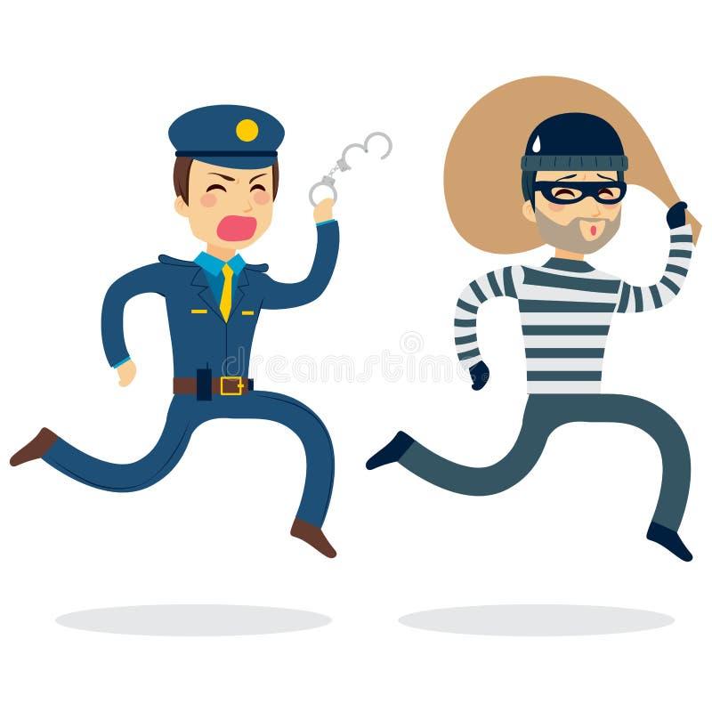 Policía que persigue al ladrón ilustración del vector