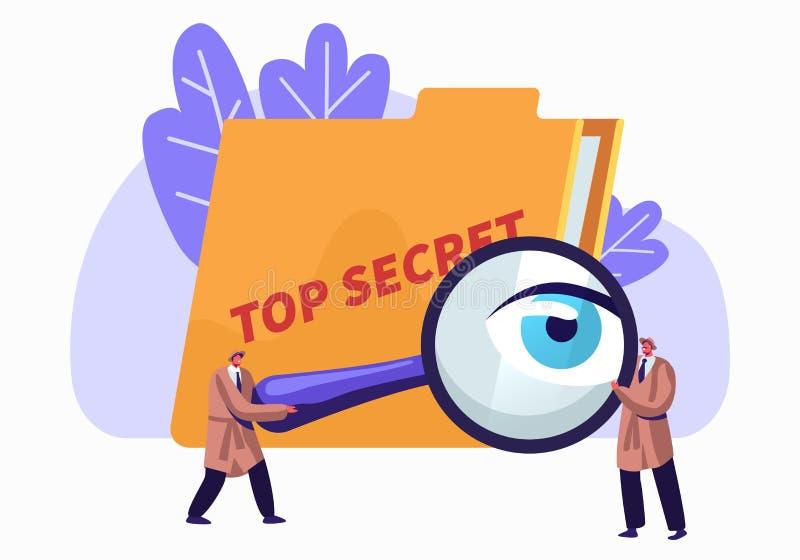 Policía, servicio de inteligencia, espías, vigilantes que buscan para los ficheros de alto secreto con el vidrio de la lupa Detec libre illustration