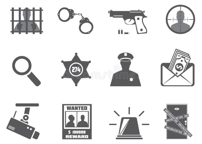 Policía y criminalidad ilustración del vector