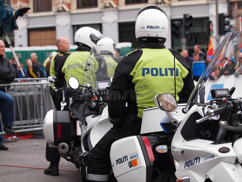 Policías daneses en la motocicleta imagenes de archivo