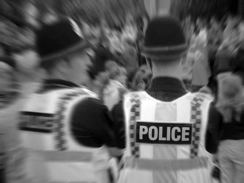 Policías del control de multitudes fotografía de archivo