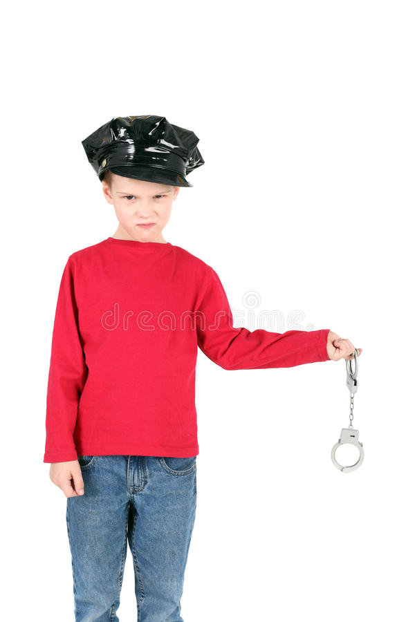 Police. Cute little boy playing policeman stock photography