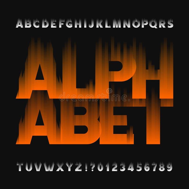 Police abstraite d'alphabet de flamme Dactylographiez les lettres et les nombres sur un fond foncé illustration stock