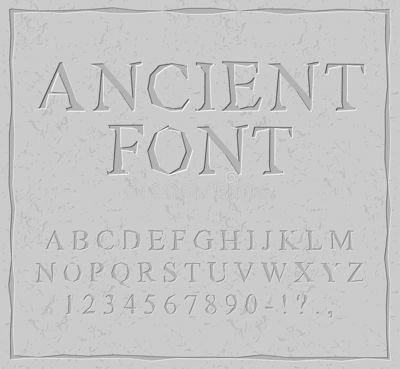 Police antique Découpé sur l'alphabet en pierre de plat Alphab préhistorique illustration libre de droits