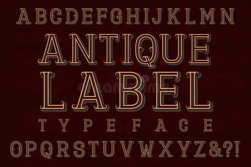 Police antique d'oeil d'un caractère en label Alphabet anglais d'isolement illustration stock