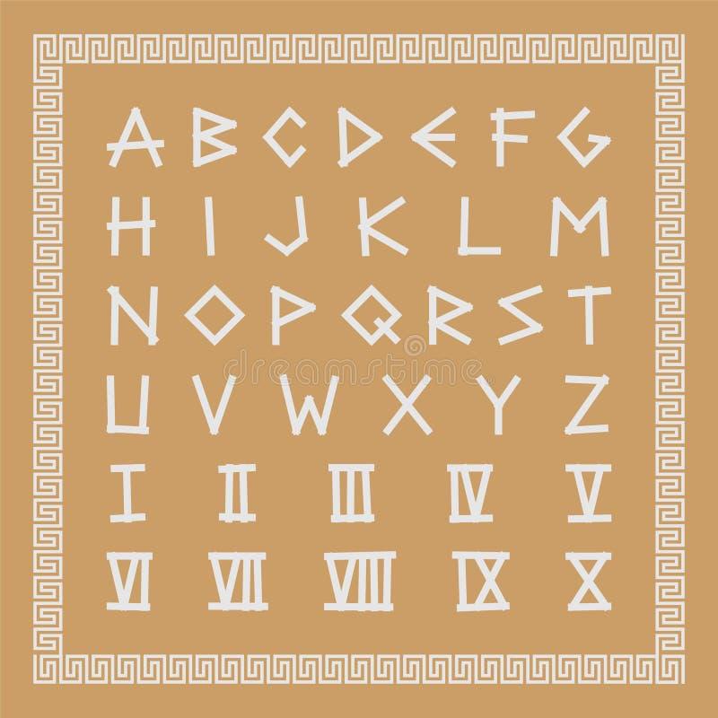Police antique grecque E Lettres latines antiques avec les chiffres romains illustration stock