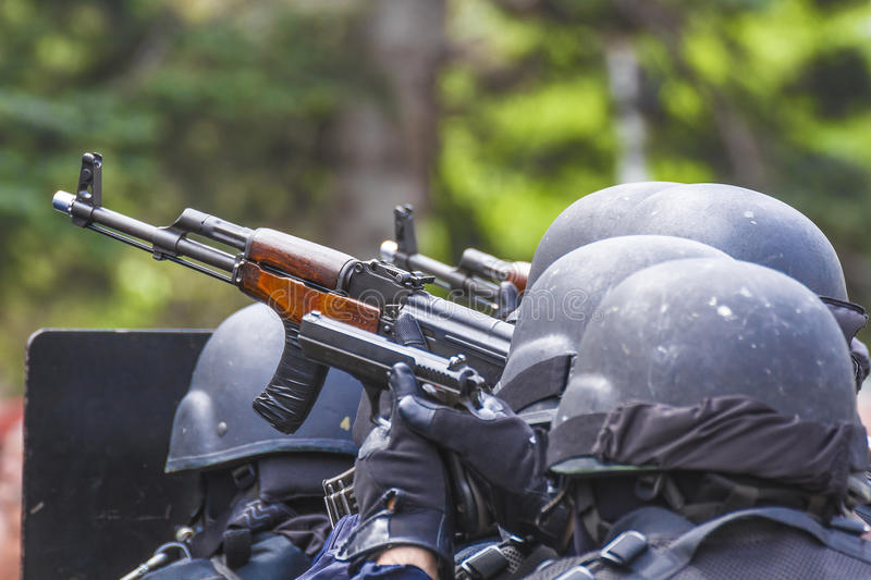Police. Antiterrorism force task in Cluj-Napoca demonstration, Romania stock images