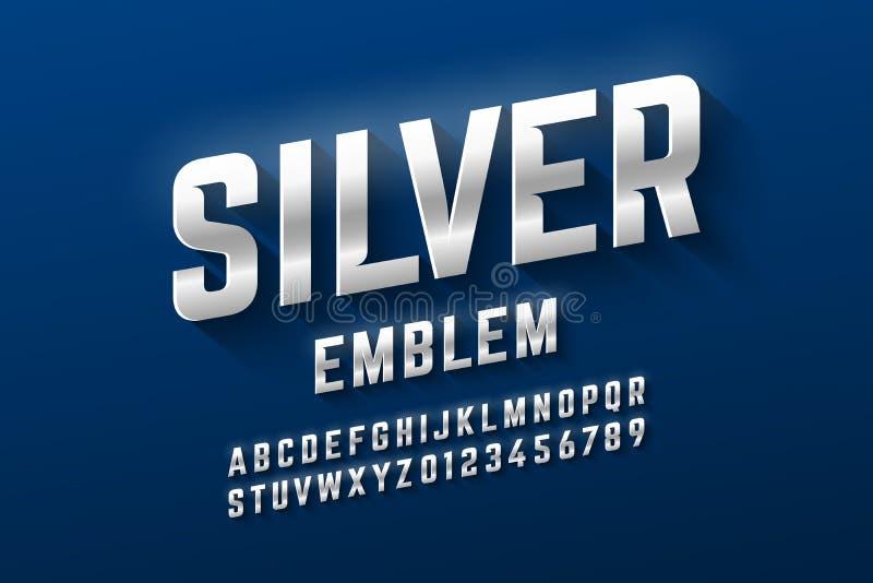 Police argentée de style d'emblème, alphabet métallique illustration de vecteur