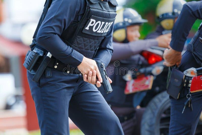 Police arrêtée, police, arme à feu images stock