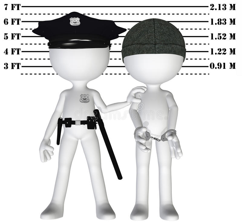Police arrest criminal cop perp crime justice. Policeman holds 3D criminal in a lineup mugshot of cop and busted perp royalty free illustration