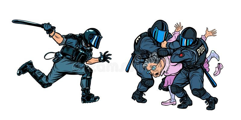 Police arrested a woman retired old woman. Pop art retro vector illustration drawing stock illustration