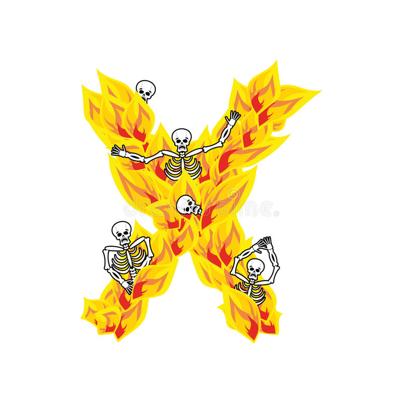 Police atroce de flammes et de pécheurs de la lettre X lettrage ardent impliquez illustration de vecteur
