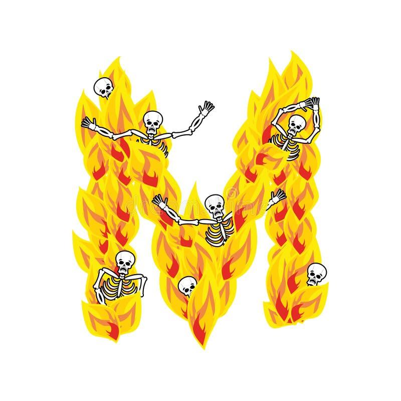 Police atroce de flammes et de pécheurs de la lettre M lettrage ardent impliquez illustration libre de droits