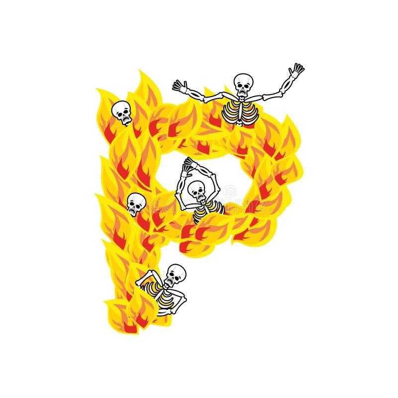 Police atroce de flammes et de pécheurs de la lettre P lettrage ardent impliquez illustration stock