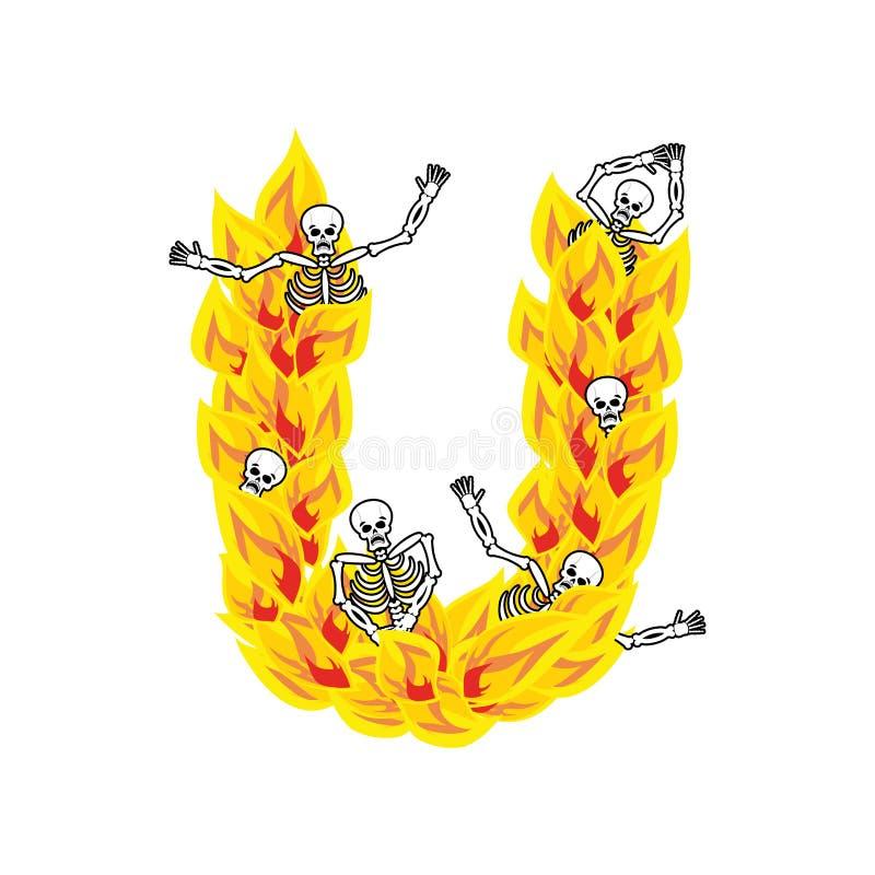 Police atroce de flammes et de pécheurs de la lettre U lettrage ardent impliquez illustration stock