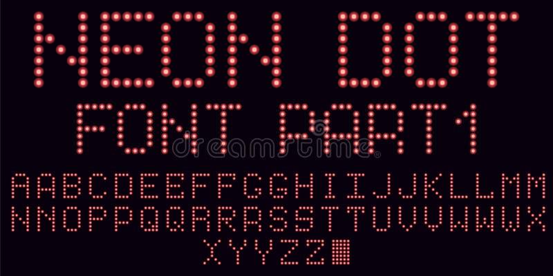 Police au néon de point en rouge, partie illustration stock