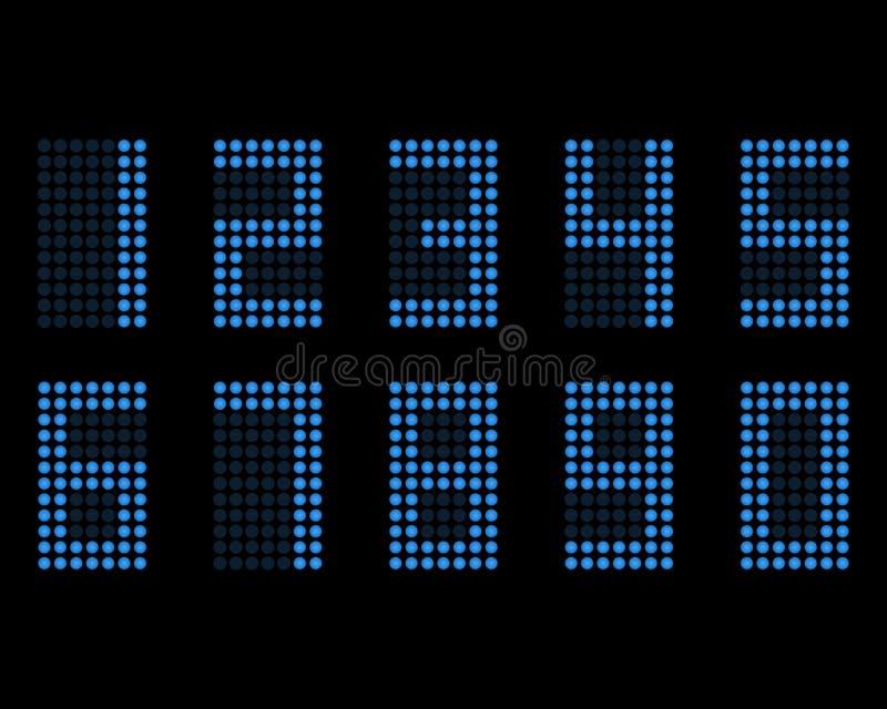 Police au néon de table de Digital avec la grille Nombres du vecteur LED illustration stock