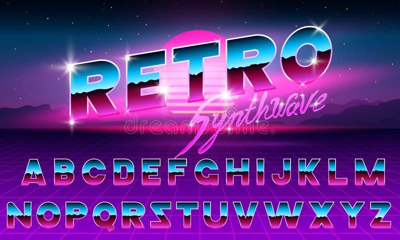 police au néon pourpre de 80 s rétro Lettres futuristes de chrome en métal Alphabet lumineux sur le fond foncé Signe léger de sym illustration de vecteur