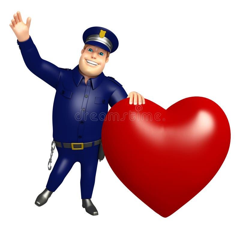 Police avec le coeur illustration stock