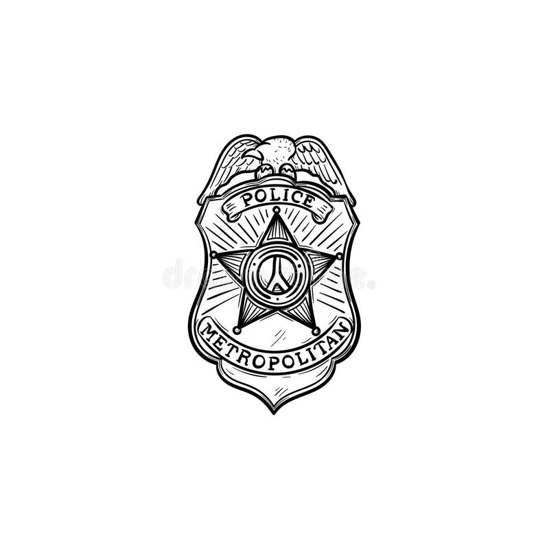 Police badge hand drawn outline doodle icon. Police authority, patrol, guard, cop, power concept. Vector sketch illustration for print, web, mobile and stock illustration