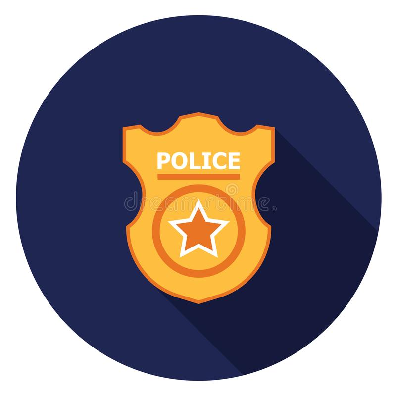 Police badge icon in flat design. vector illustration