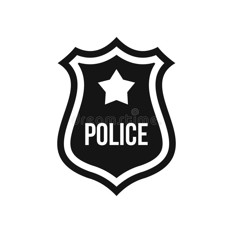 Police badge icon, simple style royalty free illustration
