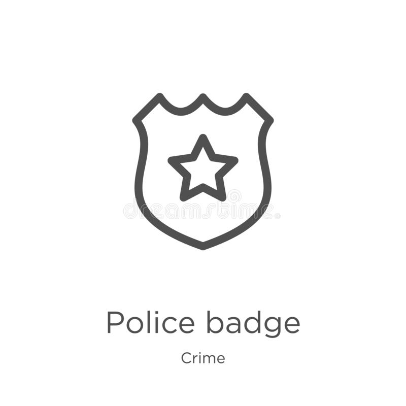 police badge icon vector from crime collection. Thin line police badge outline icon vector illustration. Outline, thin line police vector illustration