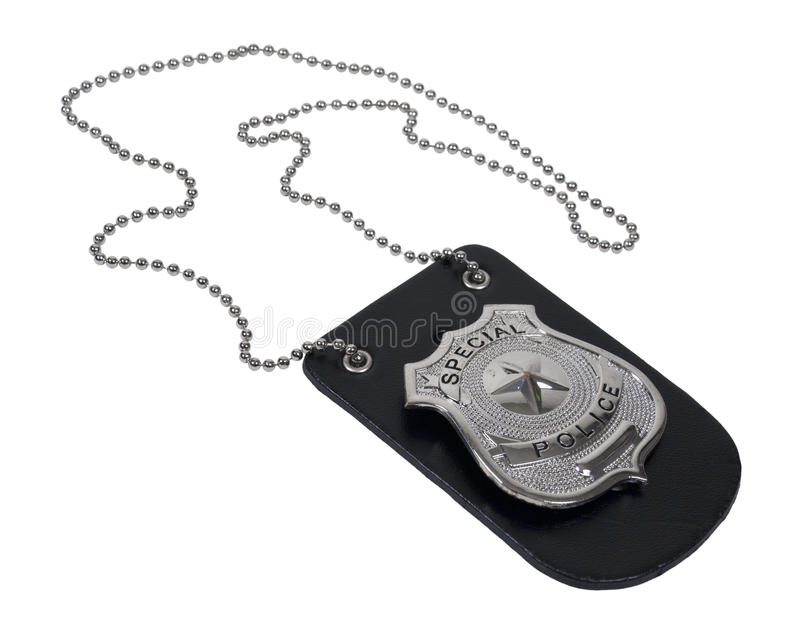 Police Badge on Leather Holder stock photo
