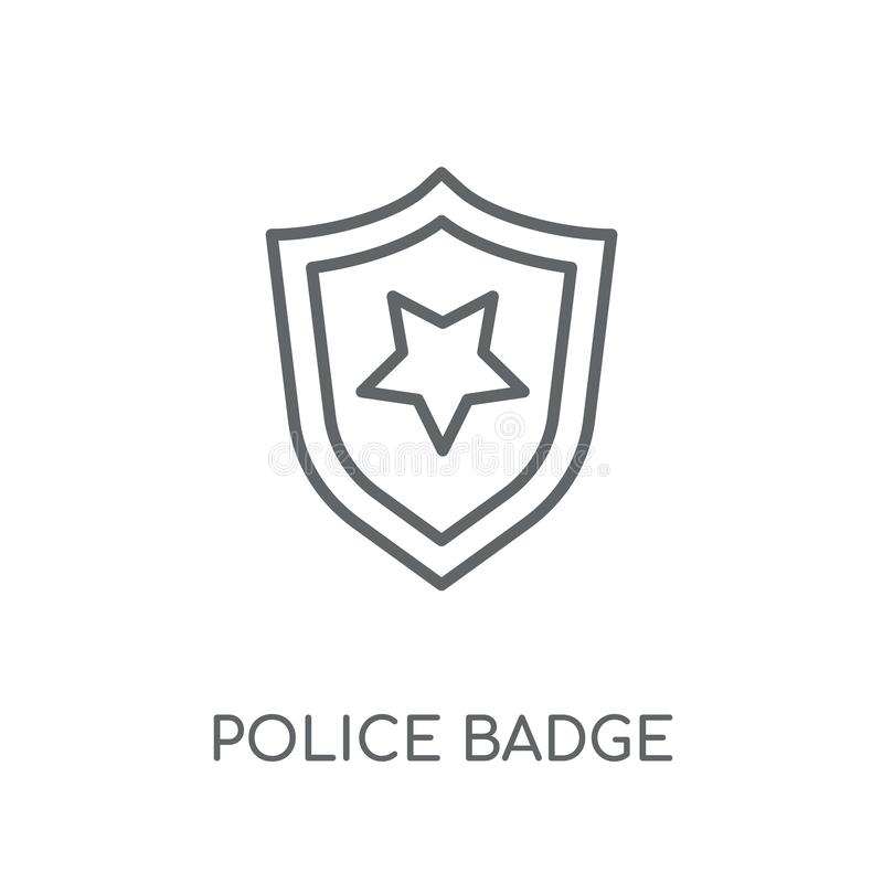 Police badge linear icon. Modern outline Police badge logo conce. Pt on white background from law and justice collection. Suitable for use on web apps, mobile royalty free illustration