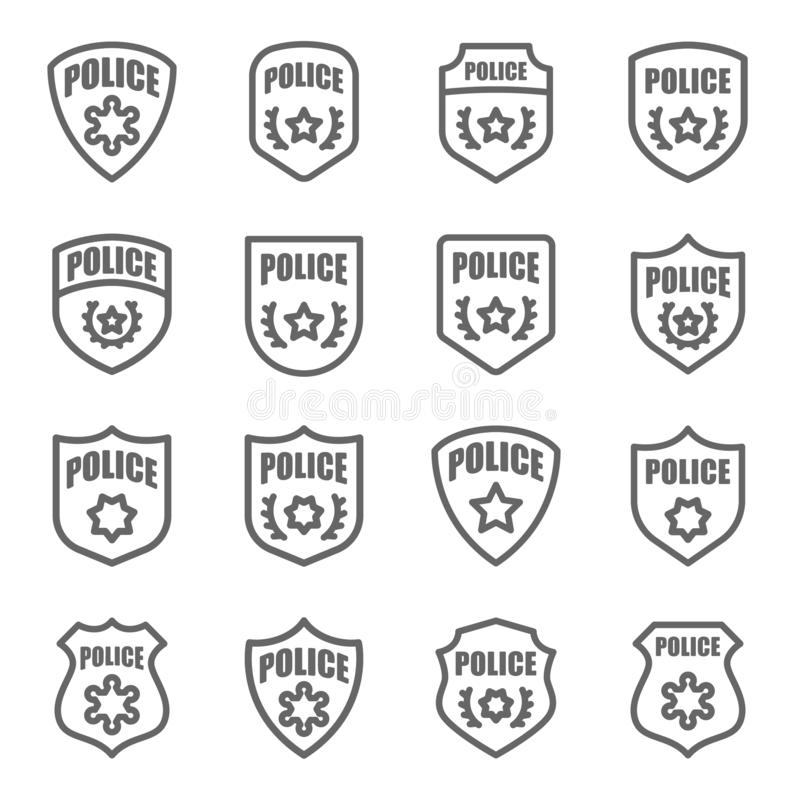 Police Badge Vector Line Icon Set. Contains such Icons as Sheriff, Military, Shield and more. Expanded Stroke stock illustration