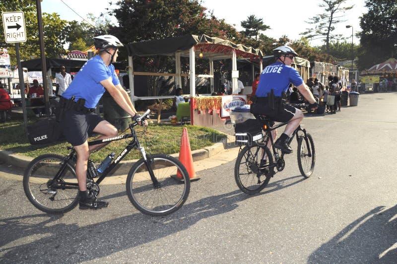 Police on bike patrol in Greenbelt, Maryland stock images