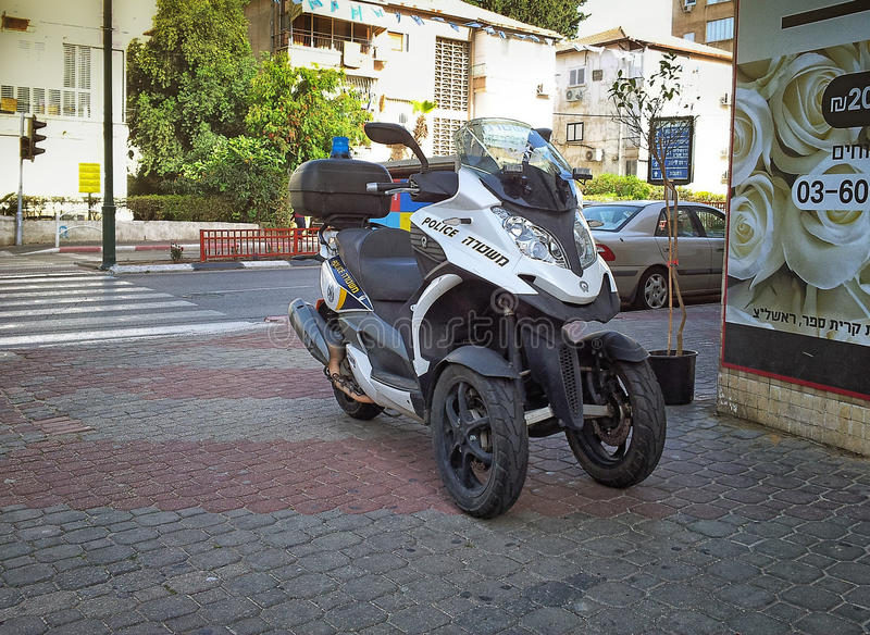 police black silver scooter quadro 350 s3 editorial image. Black Bedroom Furniture Sets. Home Design Ideas