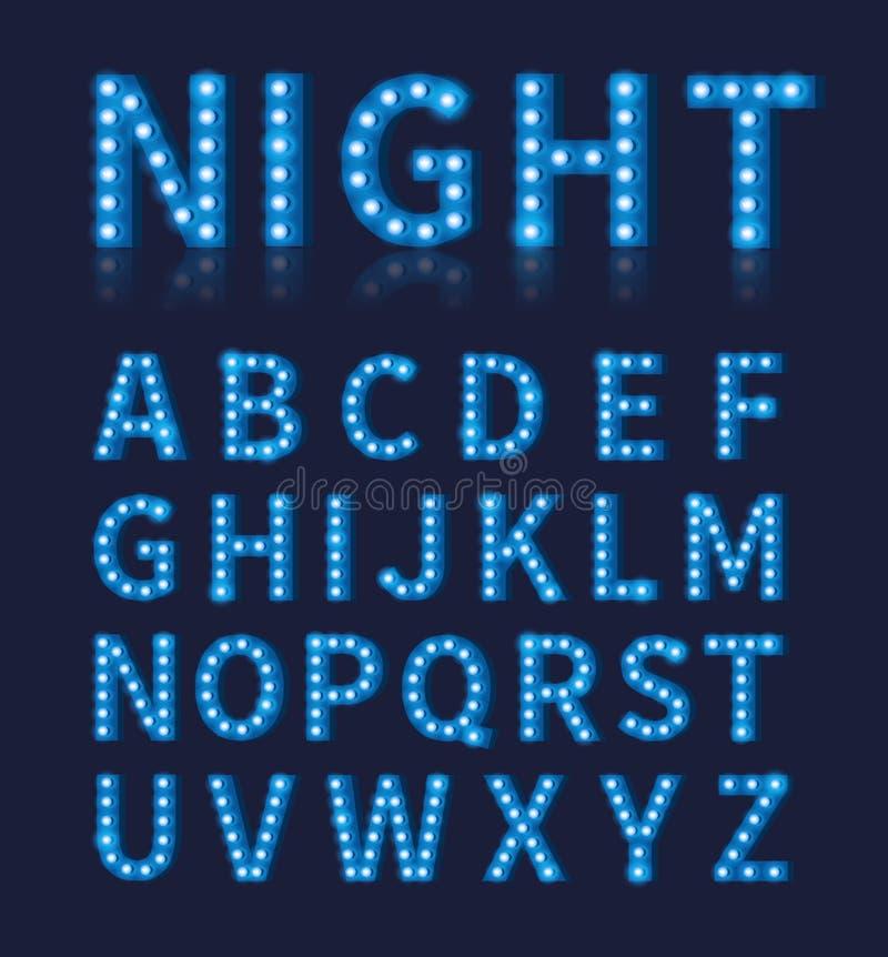Police bleue ou alphabet de lampe d'ampoule de vintage illustration libre de droits