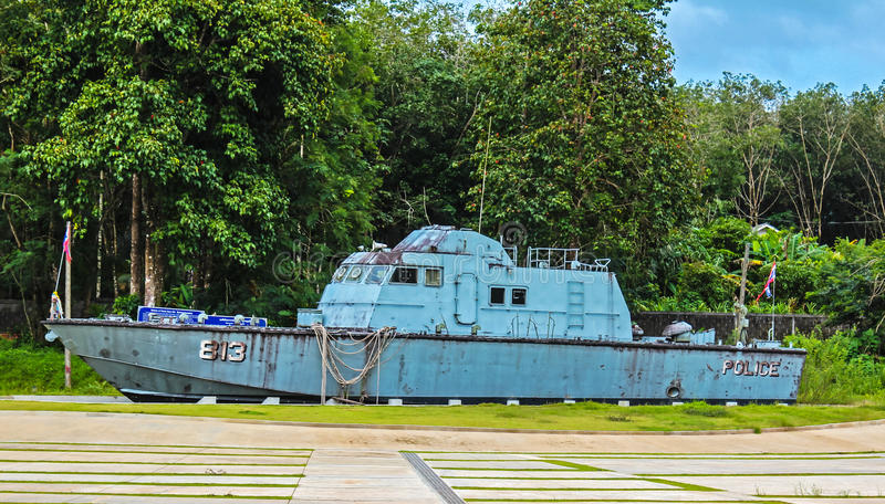 Police Boat 813 at Bang Niang/Khao Lak stock image