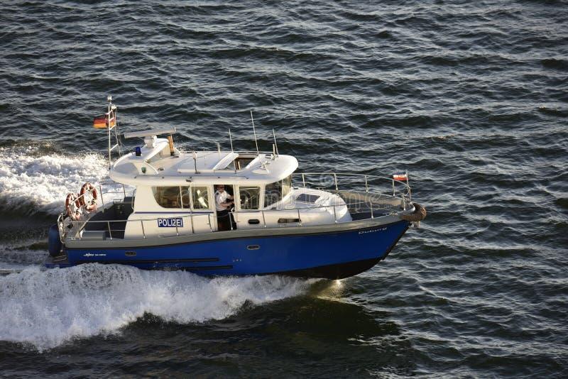 Police Boat in the Harbor of Kiel, Germany stock photos