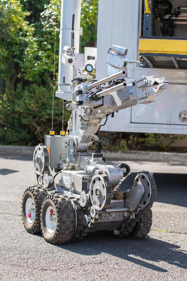 Police bomb squad robot. Used for exploding suspicious packages royalty free stock images