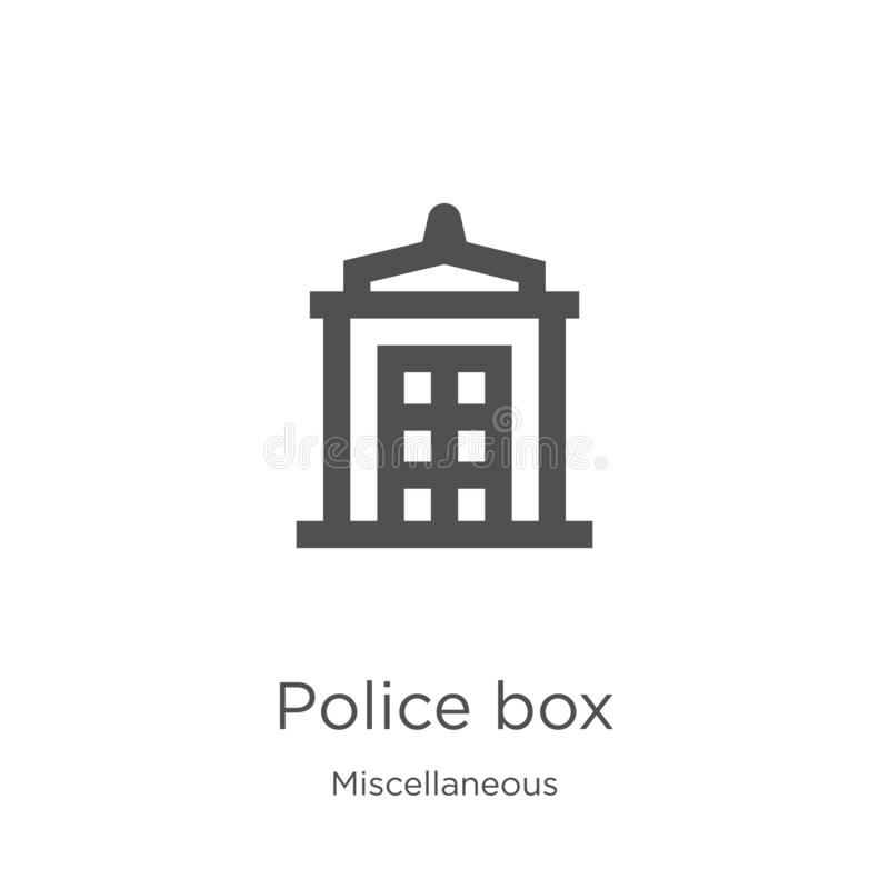 police box icon vector from miscellaneous collection. Thin line police box outline icon vector illustration. Outline, thin line royalty free illustration