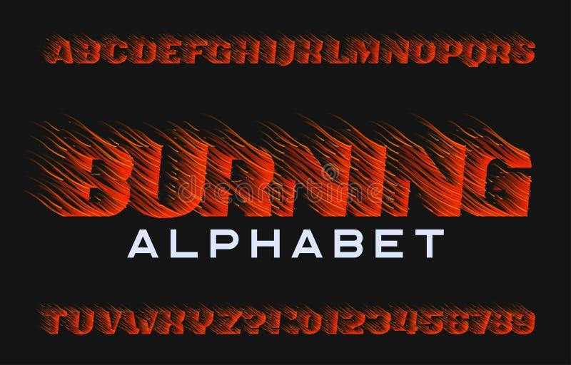 Police brûlante d'alphabet Type lettres et nombres d'effet de feu sur le fond foncé illustration stock