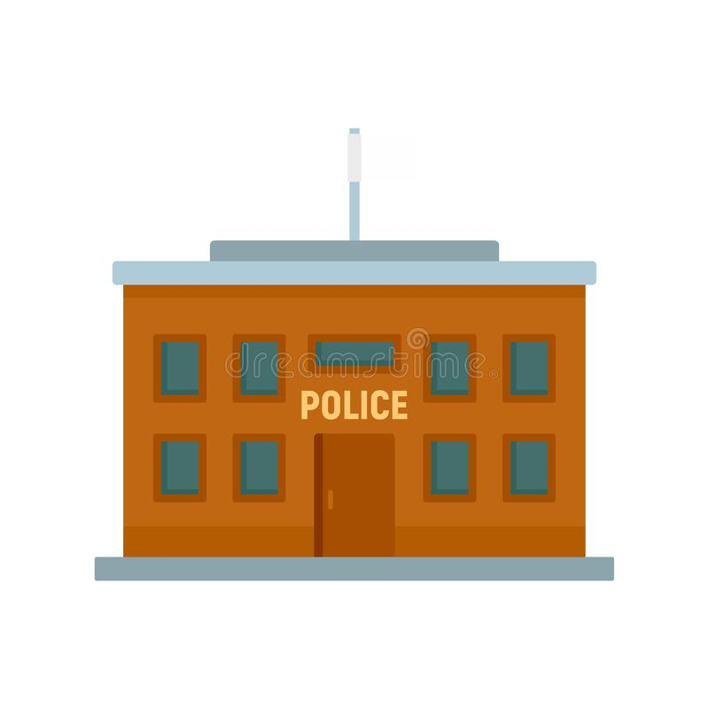 Police building icon, flat style. Police building icon. Flat illustration of police building vector icon for web design royalty free illustration